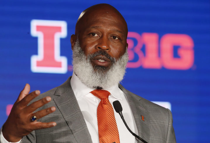Jul 18, 2019; Chicago, IL, USA; Illinois Fighting Illini head coach Lovie Smith speaks during the Big Ten Football Media Days event at Hilton Chicago. Mandatory Credit: Jim Young-USA TODAY Sports